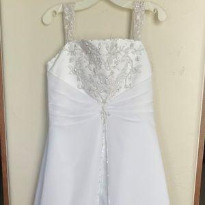 David's Bridal girls white gown